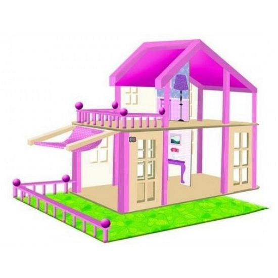 Houten poppenhuis Britta roze