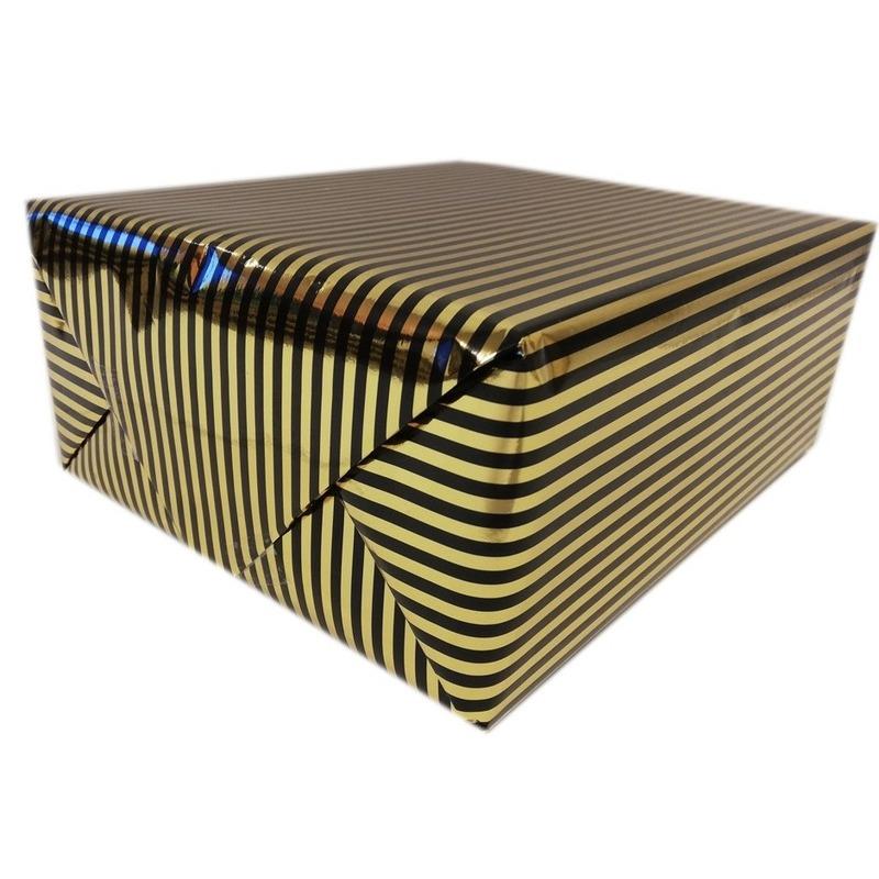Inpakpapier-cadeaupapier metallic goud-zwart 150 x 70 cm