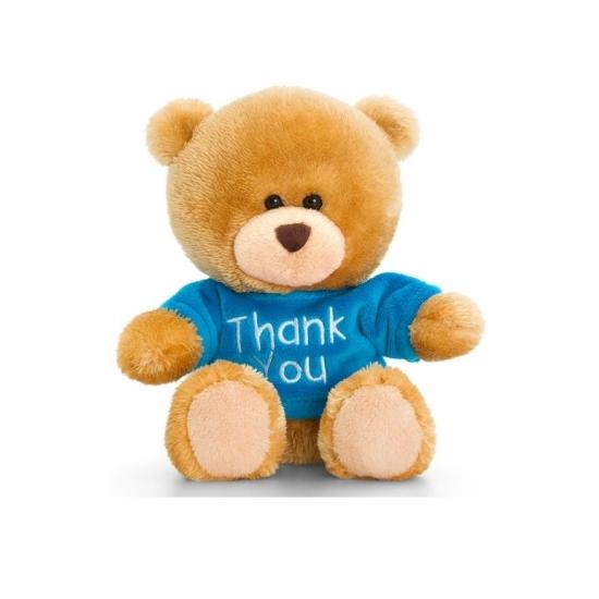 Dieren knuffels Keel Toys Keel Toys pluche beer knuffel Thank You met blauw shirt 14 cm