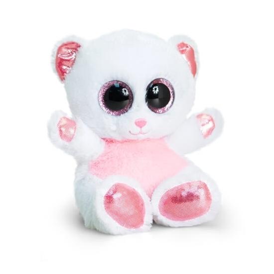 Keel Toys pluche beer knuffel wit roze 15 cm Keel Toys Dieren knuffels