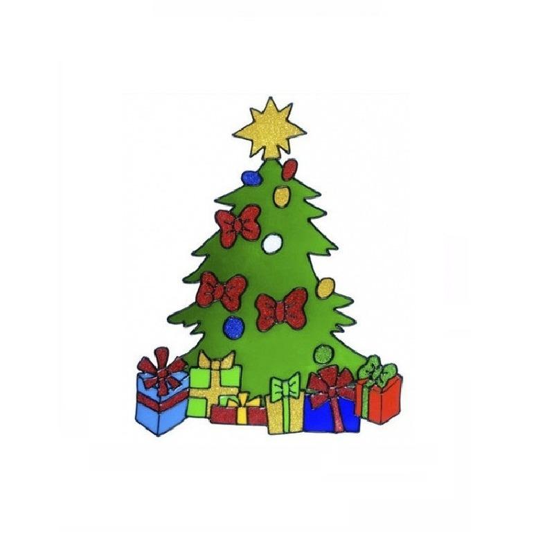 Kerst raamstickers-raamdecoratie kerstboom plaatjes 30 cm