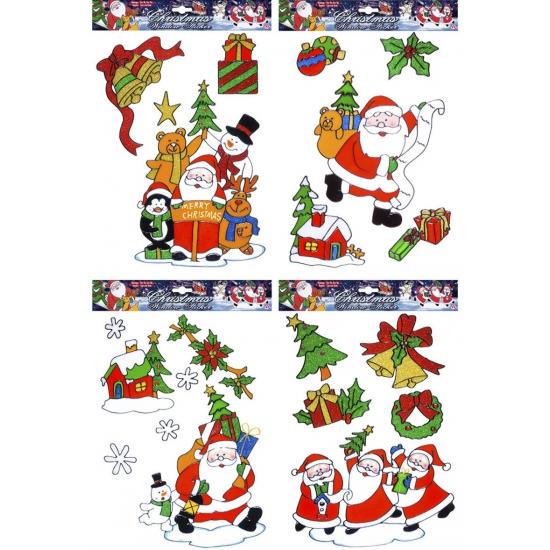 Kerst raamstickers-raamdecoratie kerstman plaatjes set