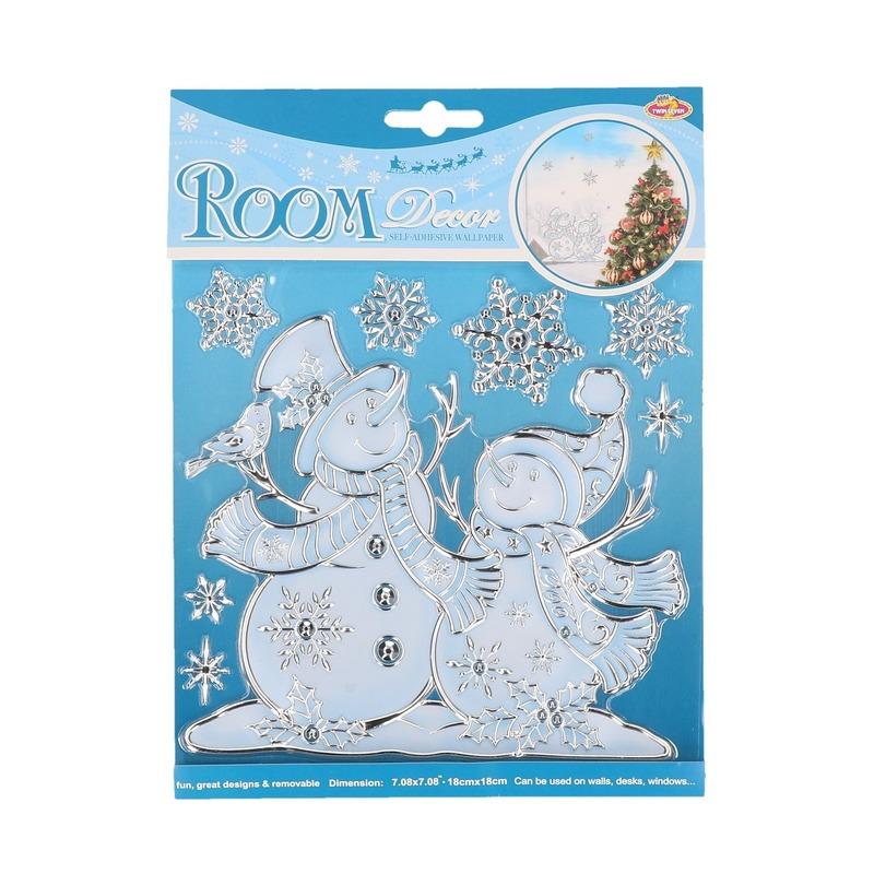 Kerst raamstickers-raamdecoratie sneeuwpop plaatjes 18 x 24 cm