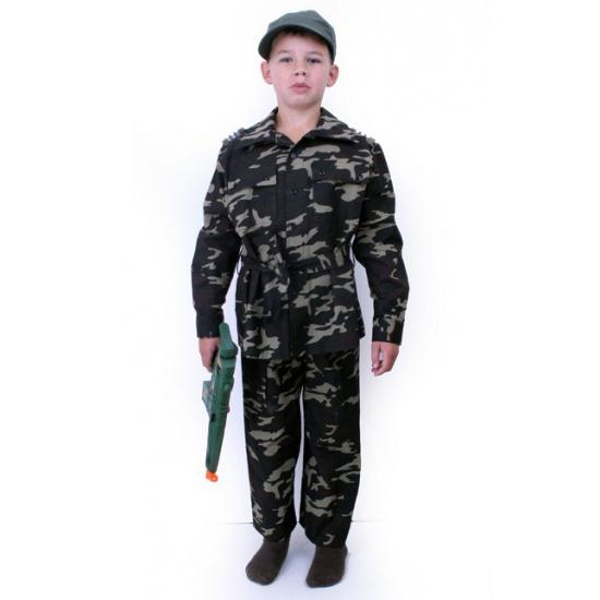 Kinder leger commando kostuum. camouflage commando pak voor jongens, inclusief jasje en broek.