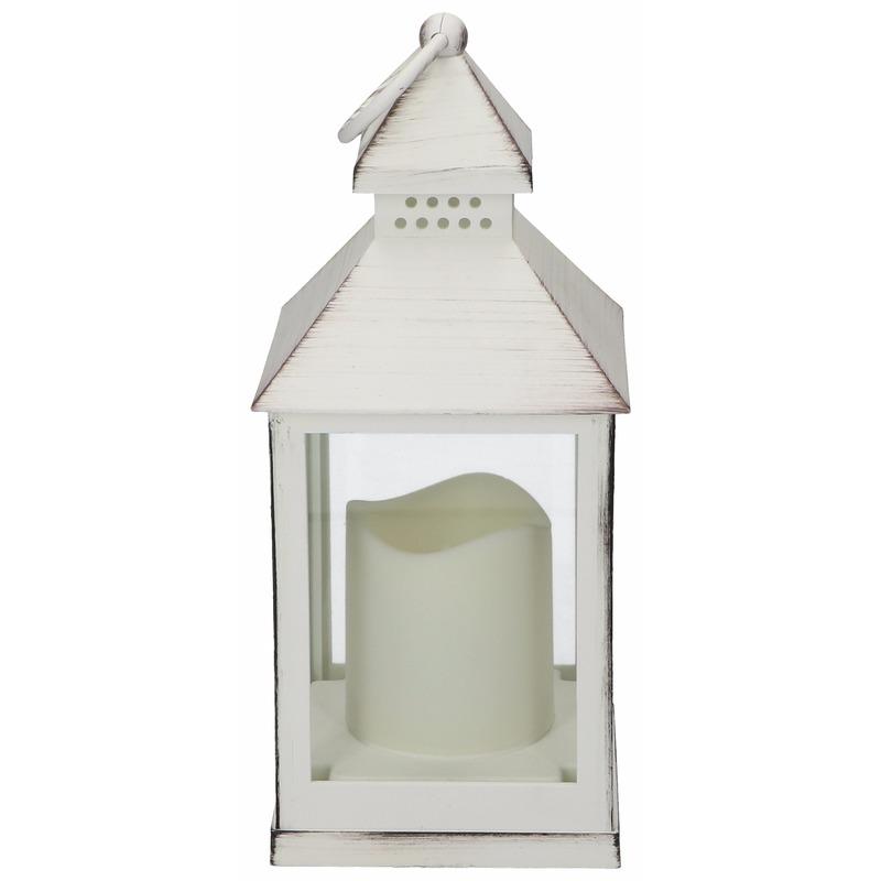 Lantaarn LED kaars wit 24 cm