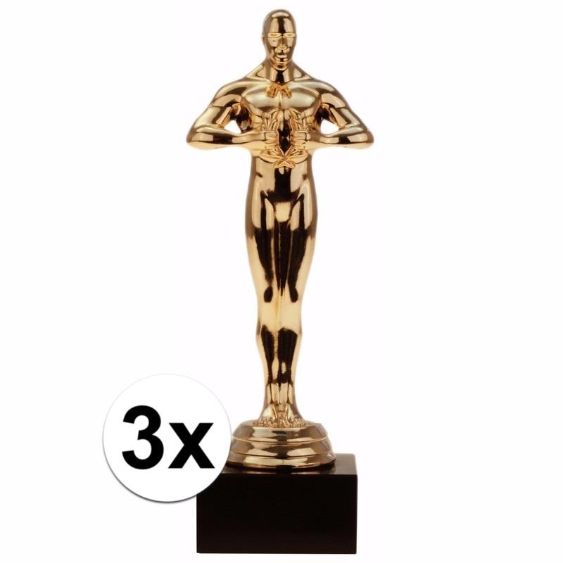 Luxe Hollywood award beeldjes 15 cm 3 stuks