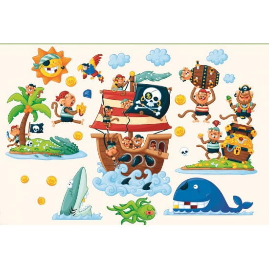 Muurstickers piraten eiland