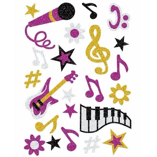 Muziek glitter stickers 1 vel