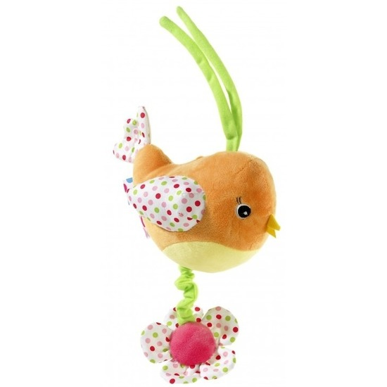 Muziek knuffel oranje vogel 15 cm