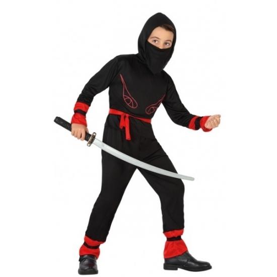 Zwart ninja kostuum voor jongens. het kostuum bestaat uit een broek, shirt, riem en bijpassende hoofdkap. ...