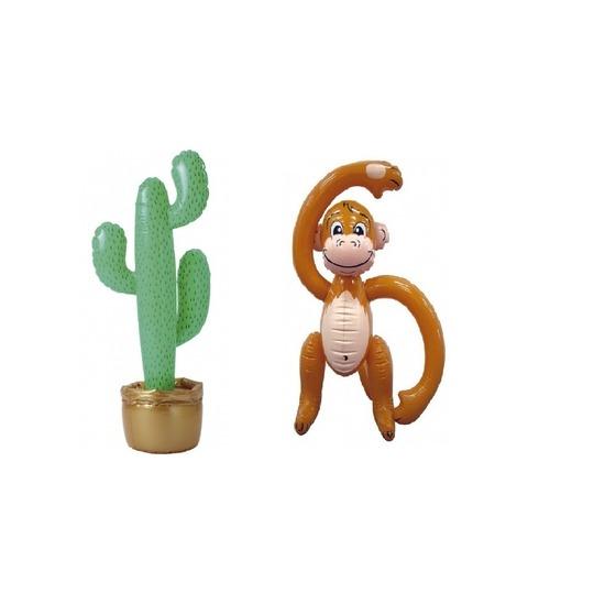 Opblaasbare tropische set cactus met aap