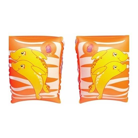 Oranje dolfijn zwembandjes voor kinderen 25 cm