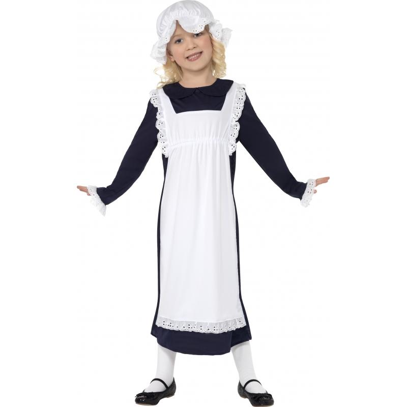 Ouderwets kostuum voor meisjes. zwart met wit gekleurd jurkje, met een schortje en bijpassende muts....