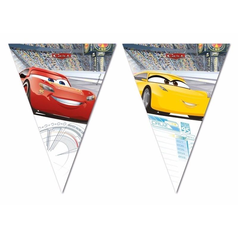 Kinderfeestjes Disney Plastic Cars vlaggenlijnen van totaal 6 meter