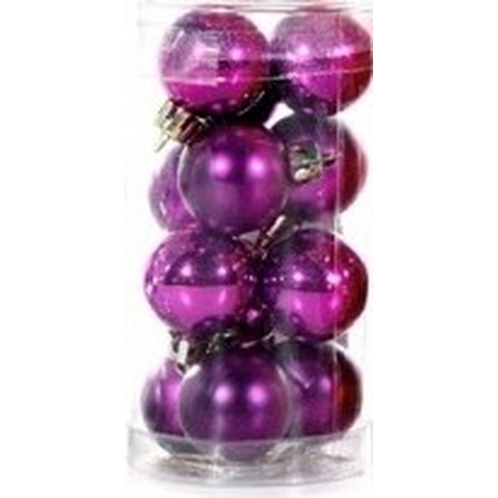 Plastic mini kerstballen paars 12 stuks 3 cm
