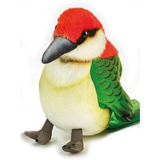 Pluche groene specht vogel knuffel 14 cm