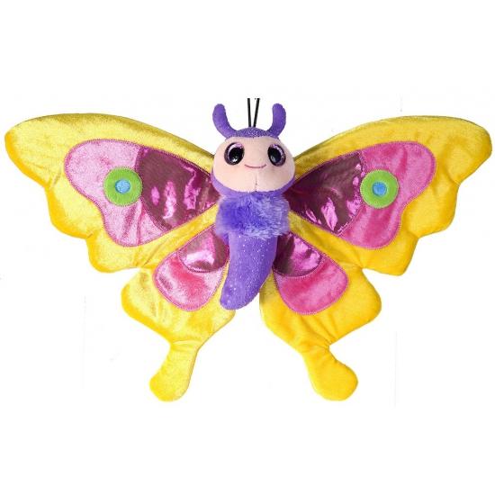 Pluche knuffel gele vlinder 38 cm