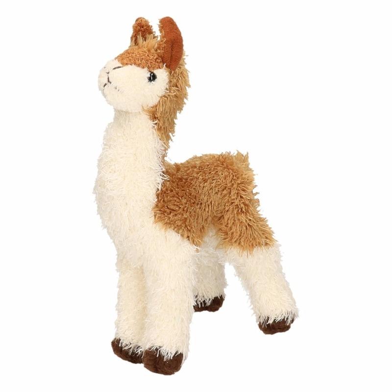 Pluche knuffel lama bruin-wit klein18 cm