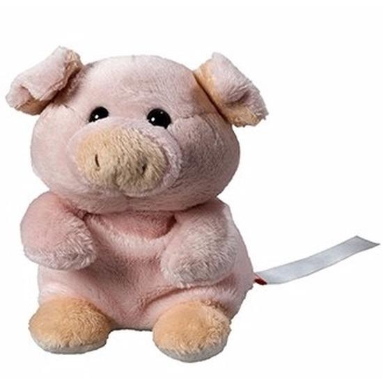Pluche varken-big knuffel 11 cm met beschrijfbaar label