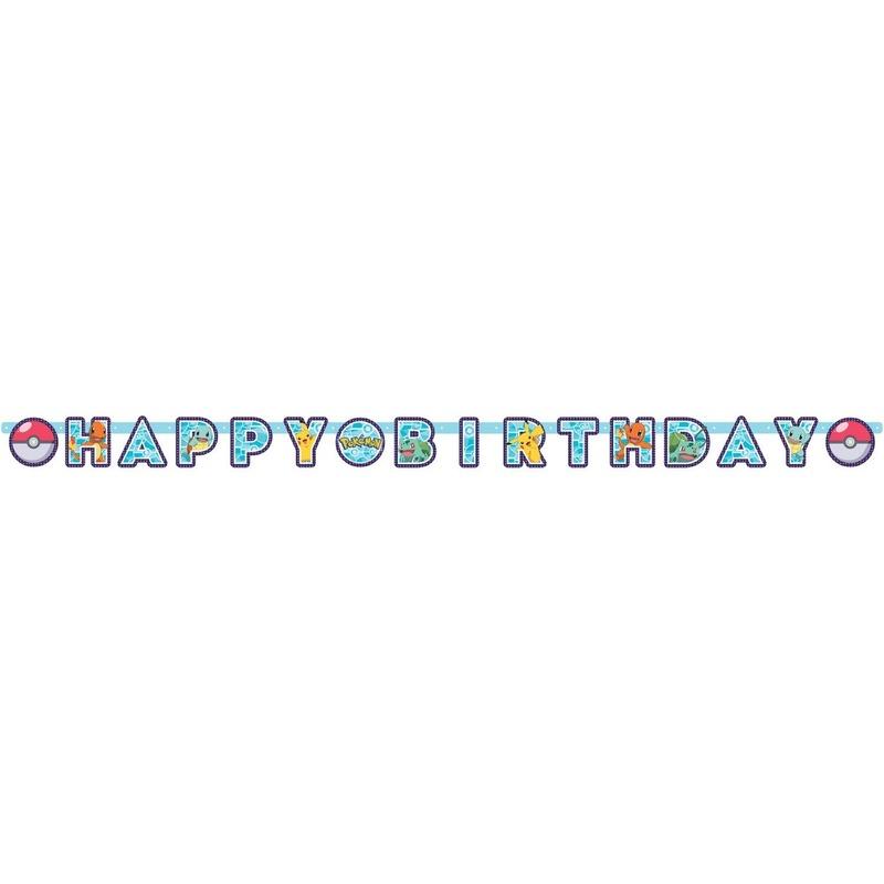 Pokemon feest wenslijn-letterslinger Happy Birthday 218 x 12 cm