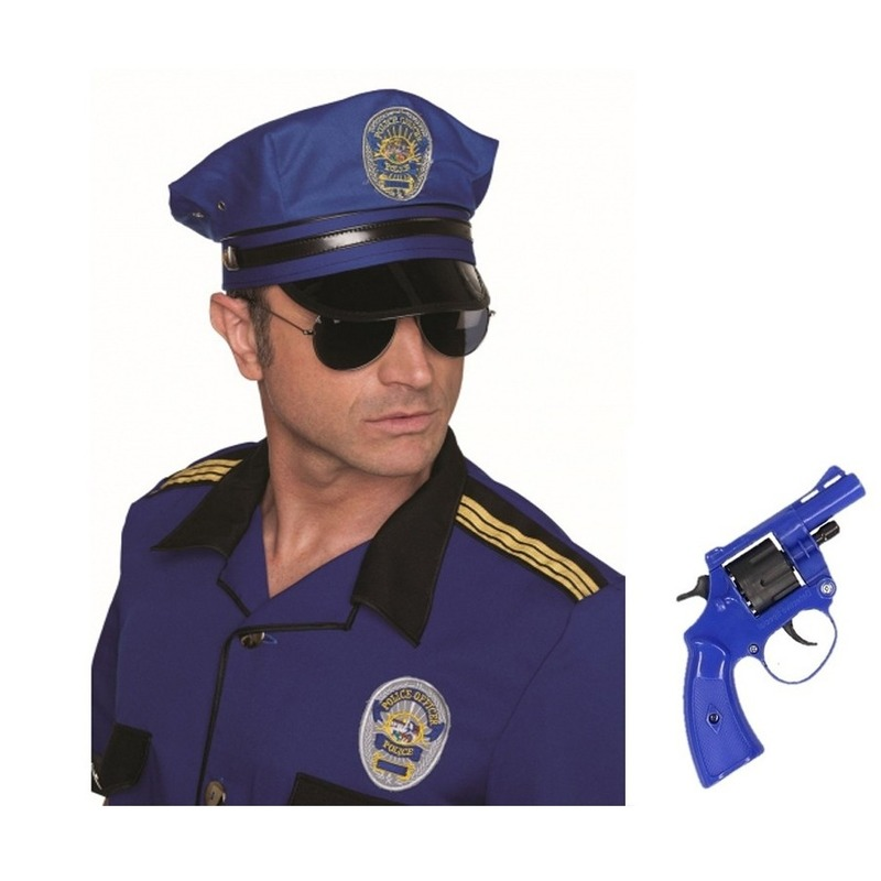 Politie accessoires verkleedset revolver en pet