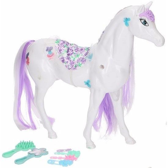 Poppen paard wit-lila met 6 delige verzorgingsset