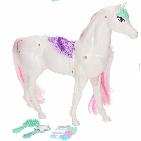 Poppen paard wit-roze met 6 delige verzorgingsset
