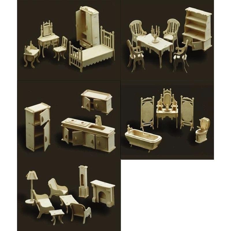 Poppenhuis meubels complete inrichting set