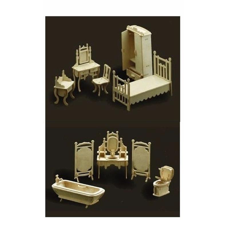 Poppenhuis slaapkamer en badkamer meubeltjes set