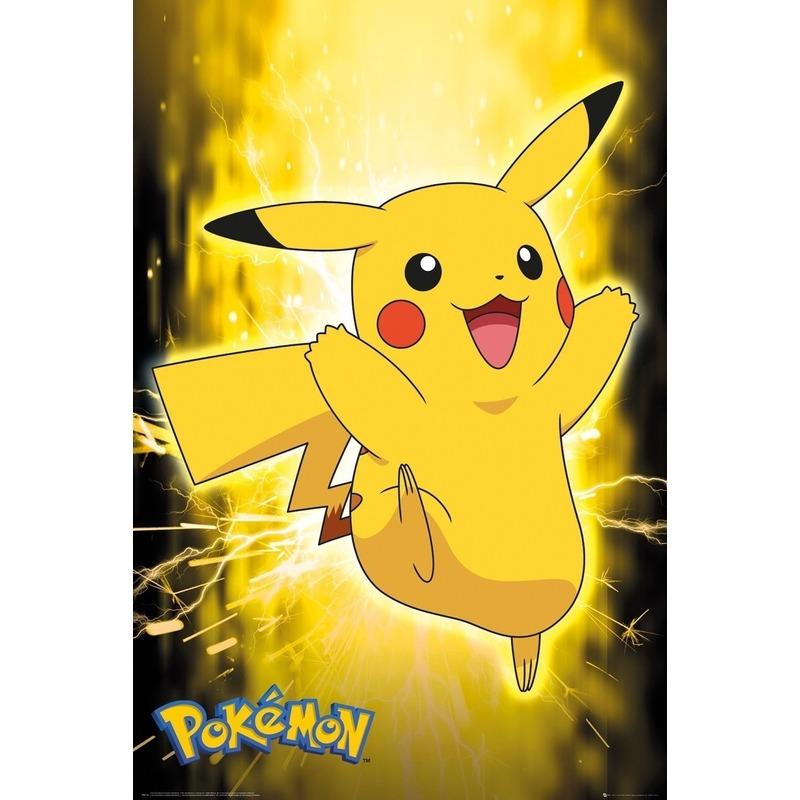 Poster Pokemon Pikachu 61 x 91 cm wanddecoratie