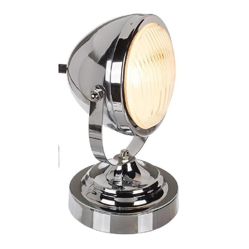 Retro schemerlamp-tafellamp koplamp vorm zilver 27 cm
