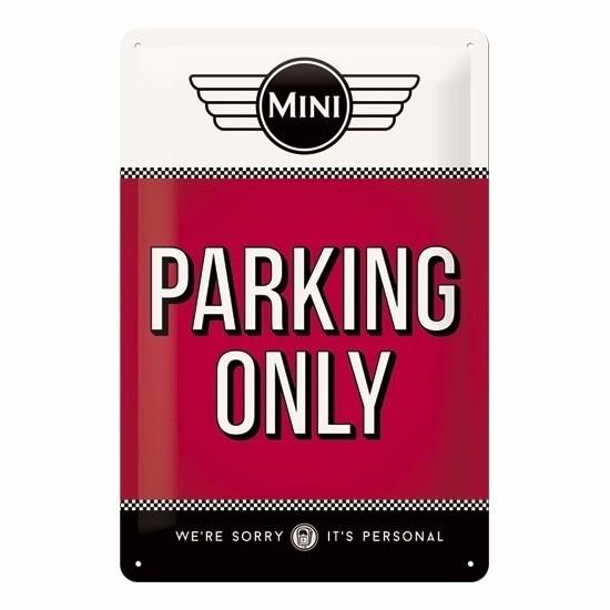 Rood muurplaatje Mini parking only