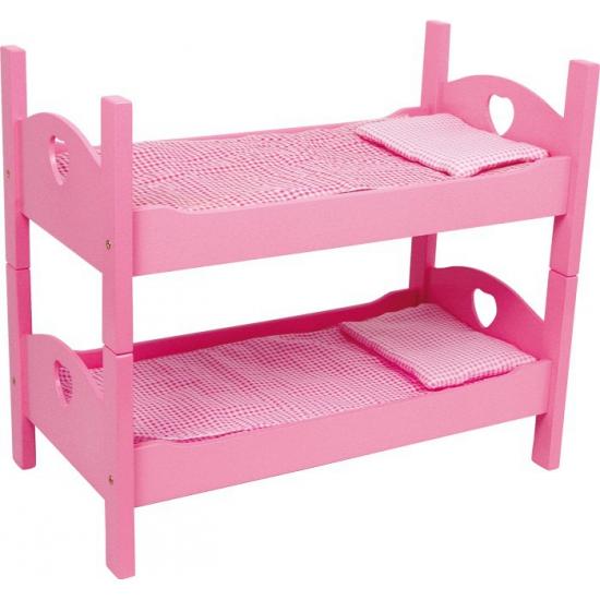 Roze poppen stapelbed 51 cm
