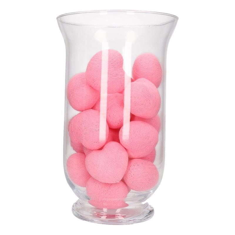 Sfeerverlichting roze hartjes in vaas