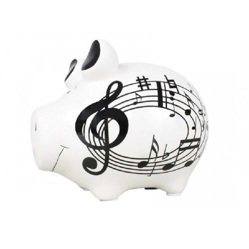 Spaarpot varken-spaarvarken wit muziek thema 12 cm