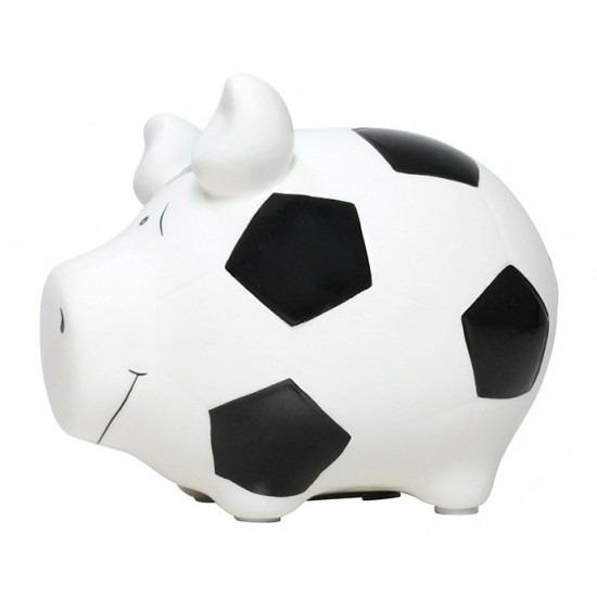 Spaarpot varken-spaarvarken wit voetbal thema 12 cm