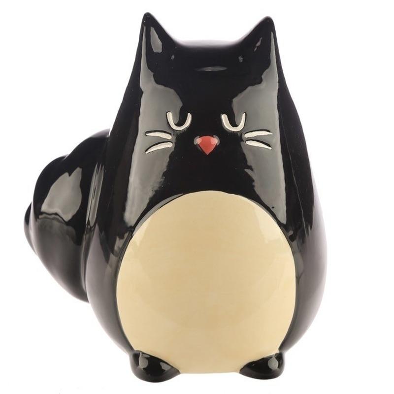 Spaarpot zwarte kat-katten beeldje 13 cm