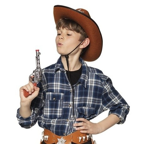 Speelgoed cowboy revolver-pistool zilver 20 cm