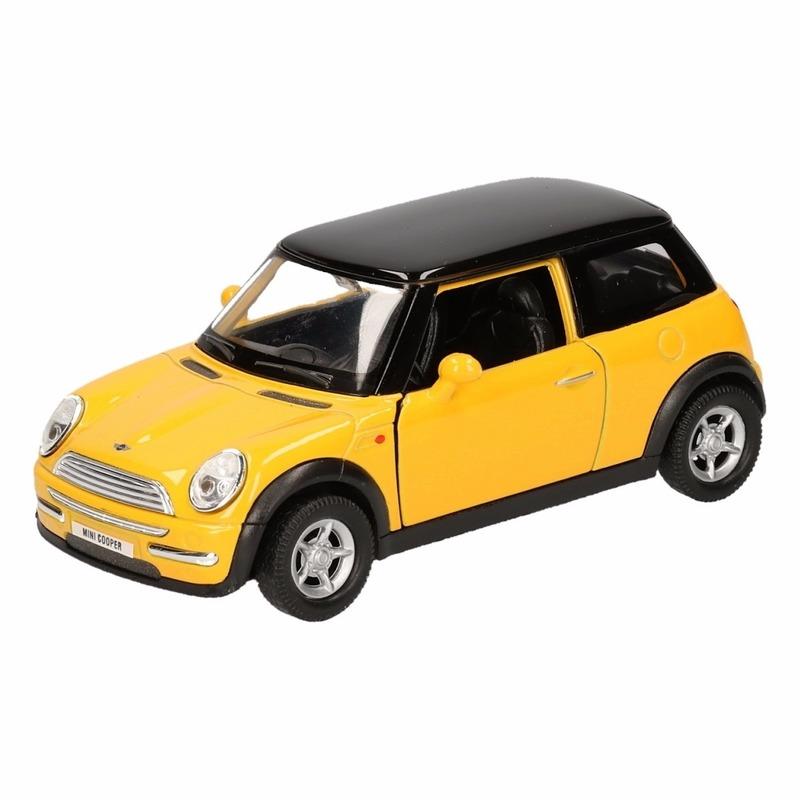 Speelgoed gele Mini Cooper auto 12 cm