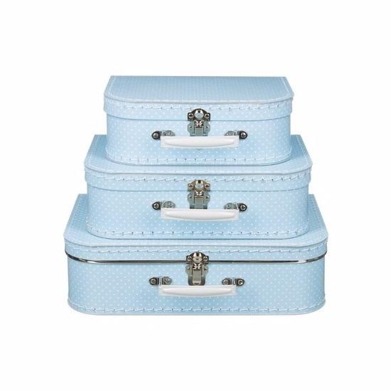Speelgoed diversen Geen Speelgoedkoffertje licht blauw met witte stipjes 25 cm