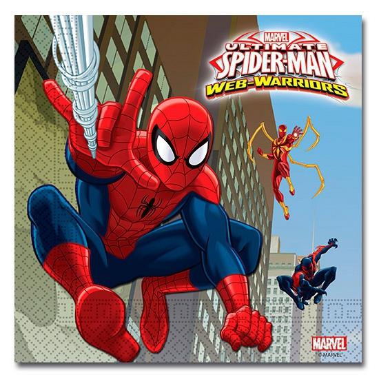 Spiderman Warriors servetten 20 stuks Marvel Kinderfeestjes