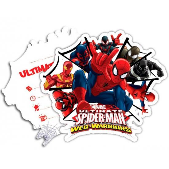 Marvel Spiderman Warriors uitnodigingen 6 stuks Kinderfeestjes