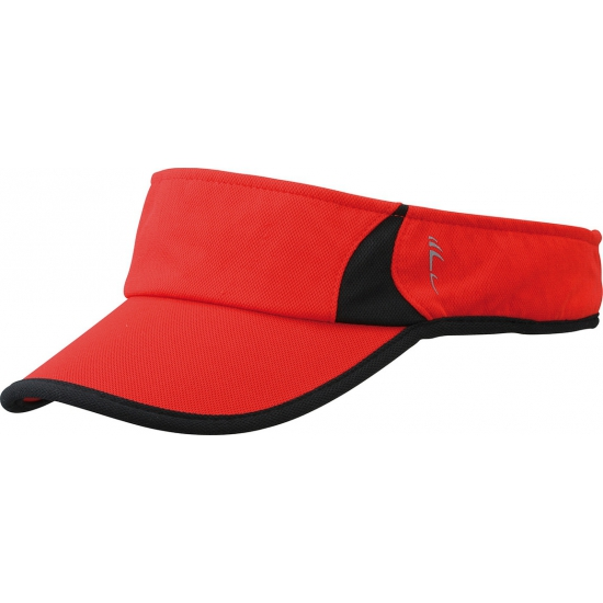 Sportieve zonneklep rood en zwart