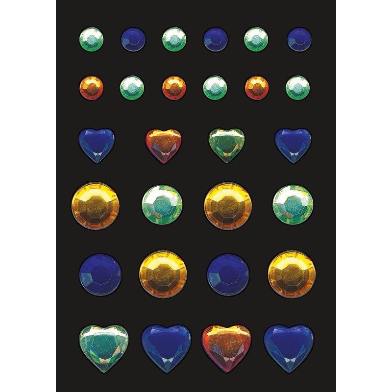 Stickers met blauwe, groene en gele strass steentjes