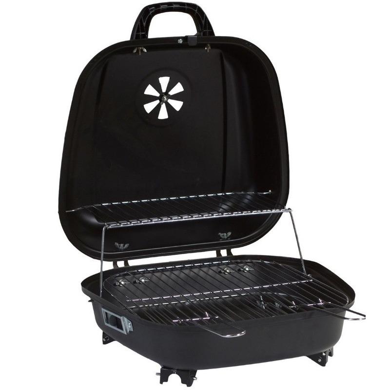 Tafel houtskool bbq-barbecue zwart 41 x 42 cm