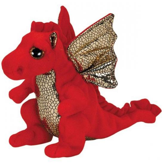 Ty Beanie knuffel rode draak 15 cm