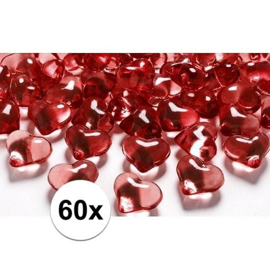 Valentijn Rode decoratie hartjes diamantjes 60 stuks