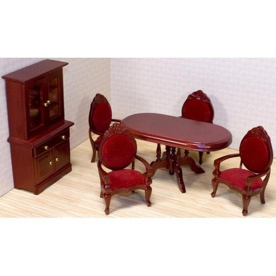 Victoriaans poppenhuis eetkamer meubels