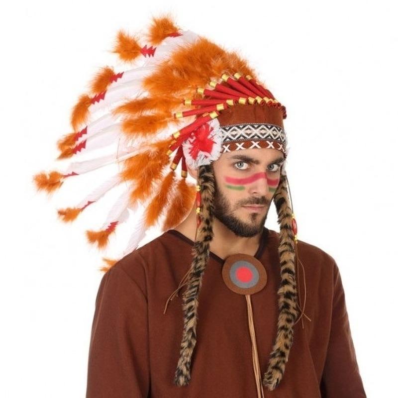 Wit-oranje luxe indianen tooi voor heren