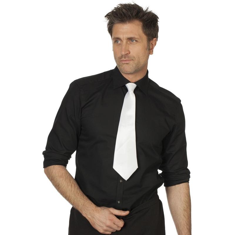 Witte stropdas 41 cm verkleedaccessoire voor dames-heren
